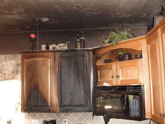 Fire damaged kitchen needing fire smoke removal service photo